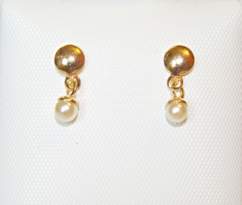 Baby Toddler 18k Skillus Gold Faux Pearl Earrings Safety