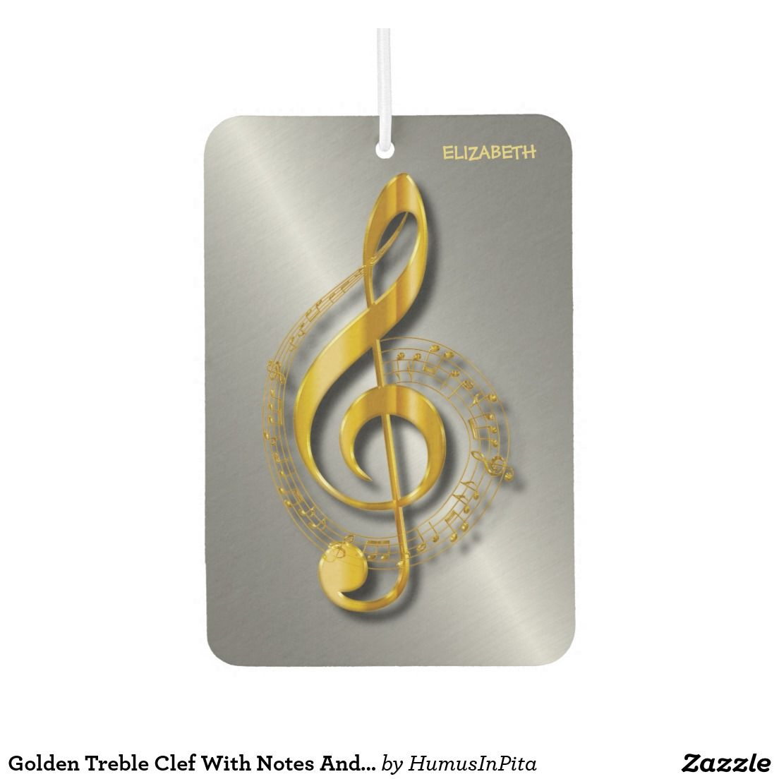 Golden Treble Clef With Notes And Shadows Air Freshener