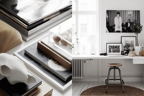 Contrastes en blanco y negro en casa de una diseñadora gráfica