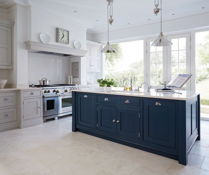 Potential Colour Scheme Pale Grey Units With Almost Navy Island And White Granite Note Also Shelf Over Kitchen Remodel Kitchen Trends Kitchen Inspirations