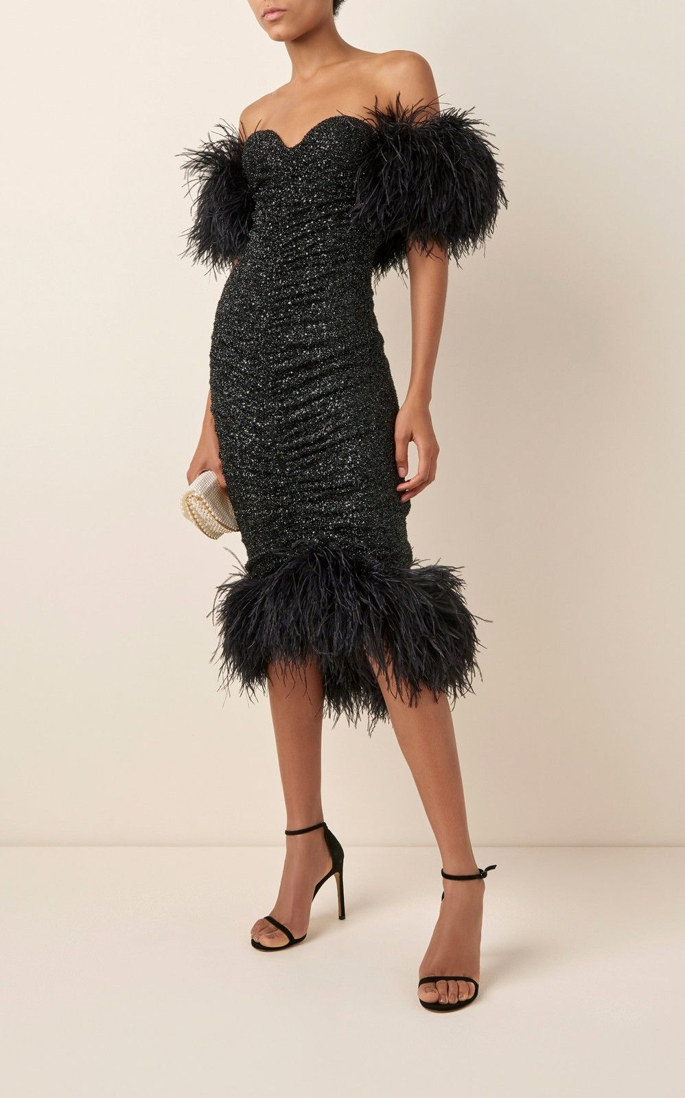 Luna Feather Trimmed Sequined Chiffon Midi Dress By Nervi Moda Operandi Chiffon Midi Dress Dresses Couture Dresses Short [ 1599 x 998 Pixel ]