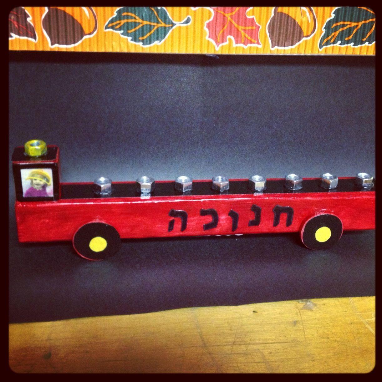 Fire Truck Menorahs For Preschool Children