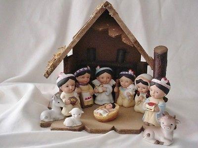 homco native american 10 pc porcelain children baby jesus 5608