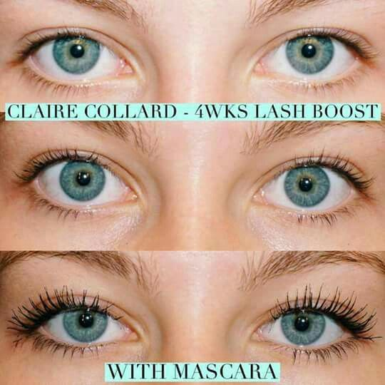 "Check out Claire's INCREDIBLE results after using LASH BOOST for just 4 weeks! I am so excited to see her 8 week update!! I don't know of anyone yet that is using our NRW product that hasn't fallen in love with their lash results!! YES, you too can have results like this! DON'T wait, order now and get our INCREDIBLE Holiday bundle which includes LASH BOOST, mini Multi-Function Eye Cream and an adorable bag! Cause people to ask YOU ""who does your lashes""!!"