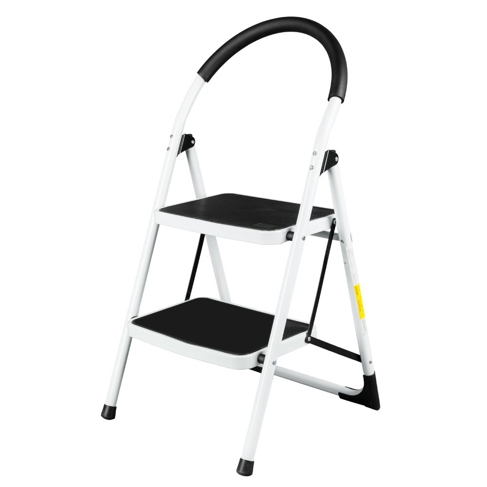 Folding Stool Heavy Duty Industrial Lightweight 2 Step Ladder White In 2020 With Images Folding Stool Step Ladders Stool