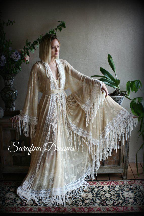 9ca88fe4baa90 Nude Lace Bridal Robe Fringe Lace Bohemian Wedding Gypsy Lingerie Bridal  Lingerie Wedding Robe Bridal Sleepwear