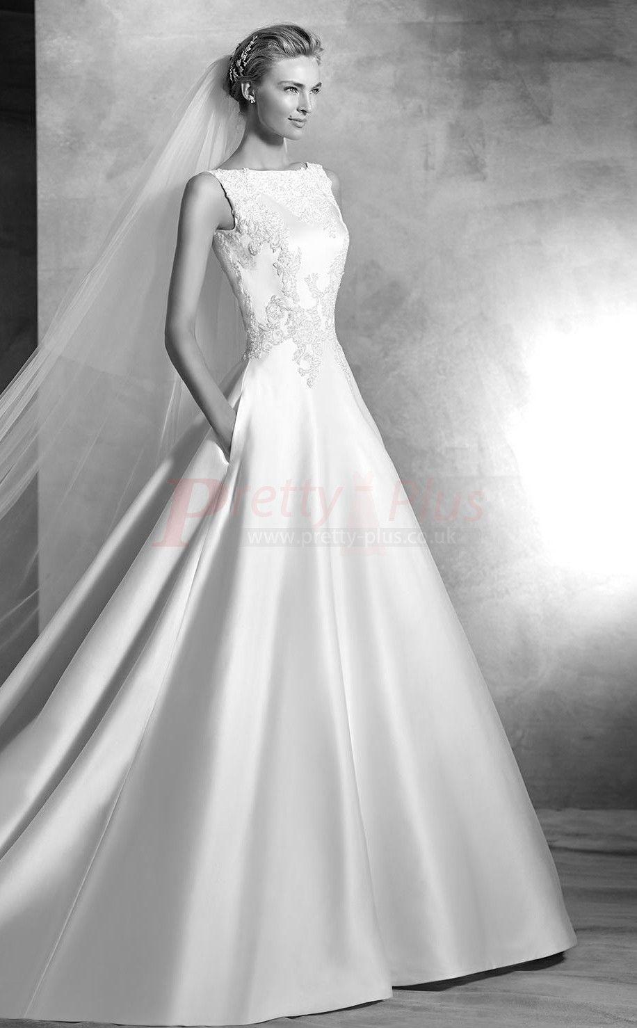 Boat Neck Low Back Wedding Dress