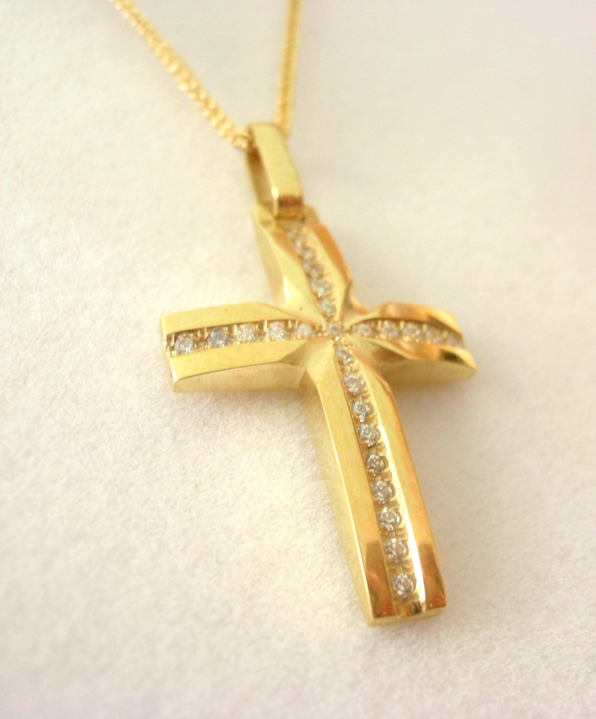 gold gross relicious handmade solid pin baptism cross golden pendant jewelry