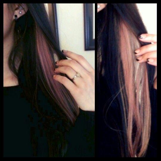 Pastel Pink Streak In Black Hair Hair Streaks Pink Hair Beautiful Hair