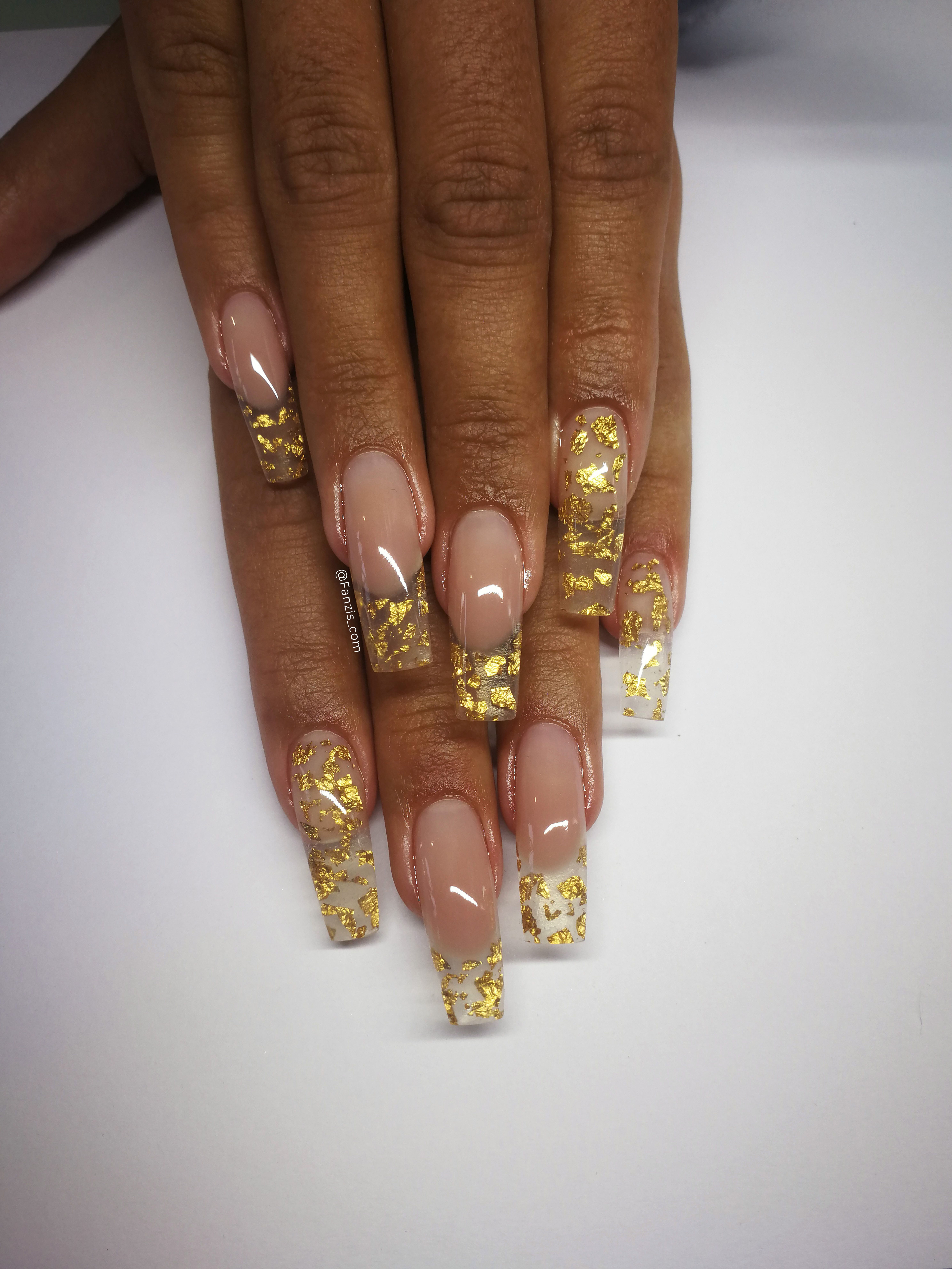 Glas French Square Gel Nails With Gold Foil Details Gold Nails Square Gel Nails Drip Nails