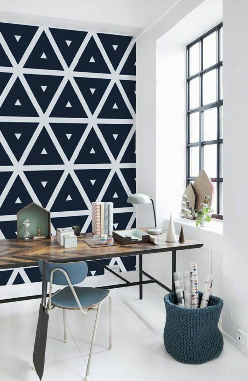 Le papier peint géométrique en 50 photos avec idéеs Wall wallpaper - peindre sur papier vinyl
