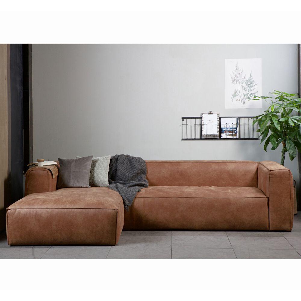 eckgarnitur bean leder cognac couch polster sofa ecksofa longchair links mareimi couch sofa. Black Bedroom Furniture Sets. Home Design Ideas