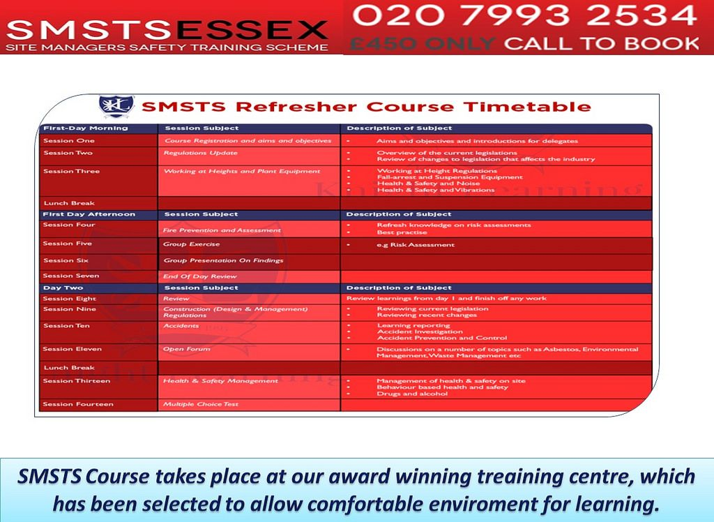 SMSTS Courses Centres Southend, London, UK Book sites
