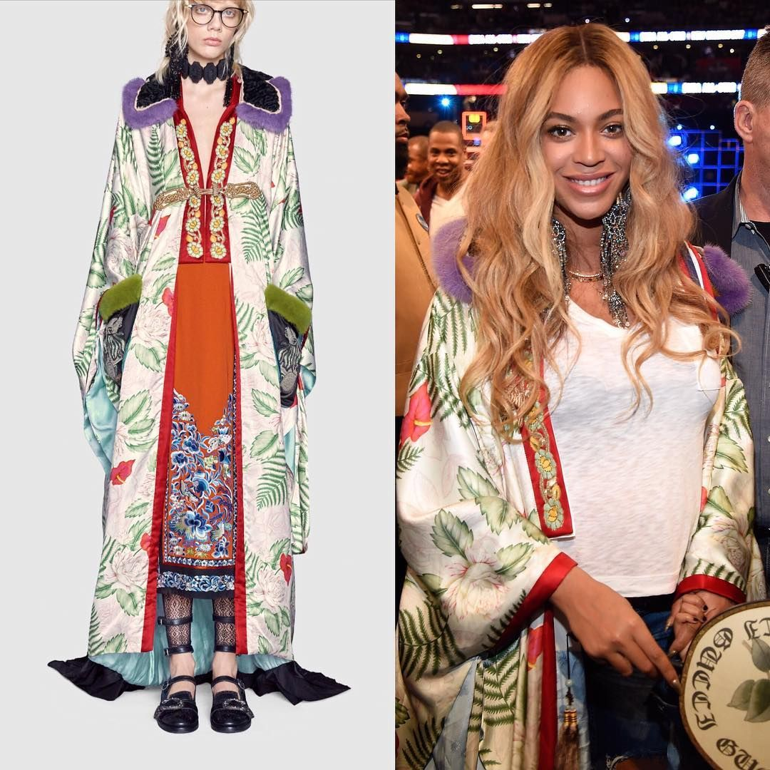 4b17bdf93 Beyonce Wears $22K Gucci Kimono Courtside at NBA All-Star Game ...