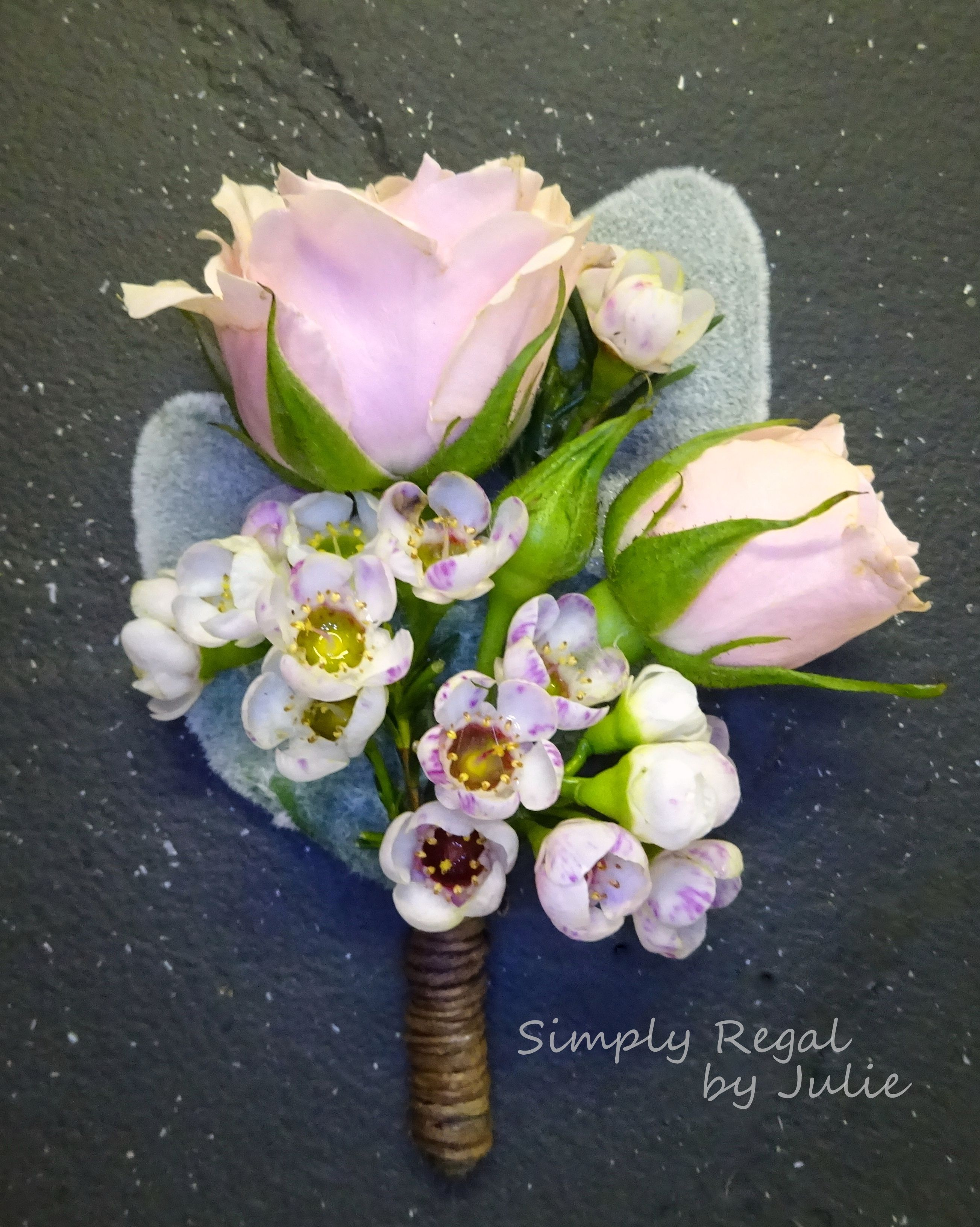Pink Roses Lambs Ear With Pink Wax Flower Make Up This Pretty