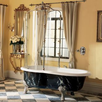 Calvari Rain Bath Clawfoot Tub With Curved Glass Shower