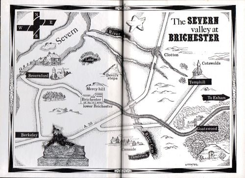Map of the Severn Valley at Brichester from The Inhabitant of the Lake and Less Welcome Tenants by J. Ramsey Campbell, Arkham House, 1964
