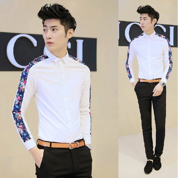 2014 Print Embellished Korean Men Handsome Slim Fitted Casual Office Dress Shirt Top Wholesale Aliexpress Retail $23.26