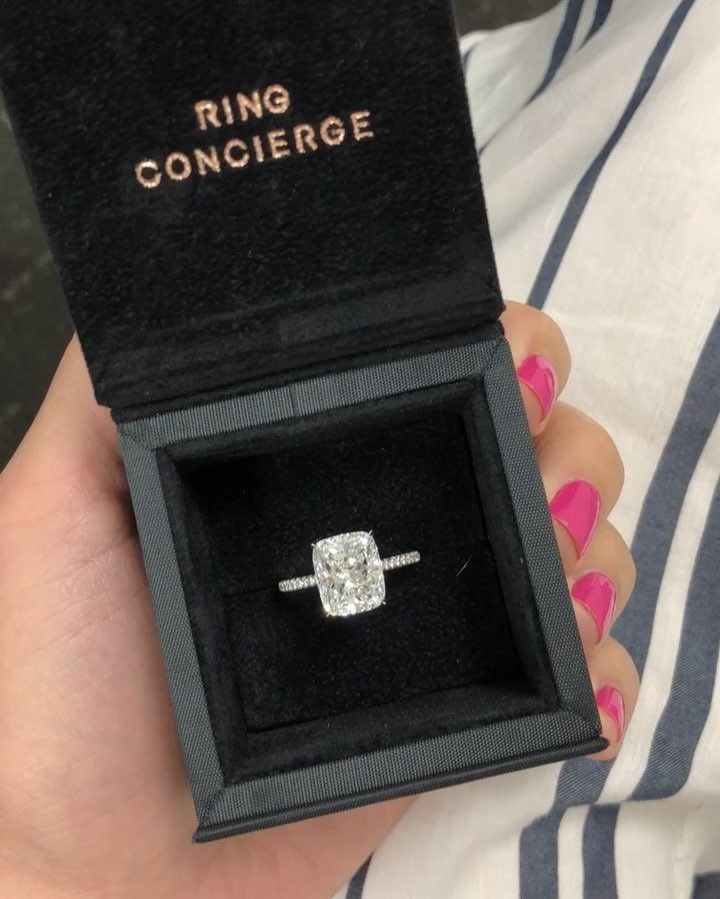 5.5ct Cushion Engagement Ring with Micropavé Setting by Ring Concierge #weddingring