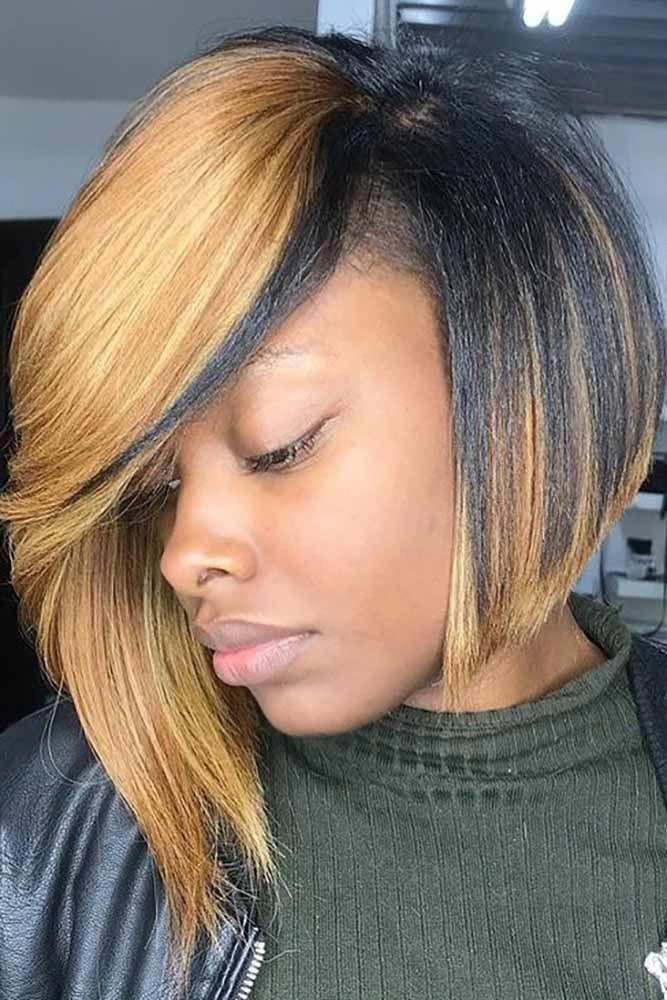Asymmetrical Bob: African American Style #asymmetricalbob #bobhaircut #naturalhair ...