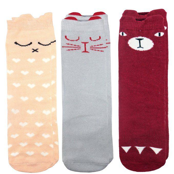 LITTONE Baby Kids Cotton Cartoon 3D Ear Knee High Tube Socks S( 1 - 3 Years ) Gray & Pink(2 Pairs)