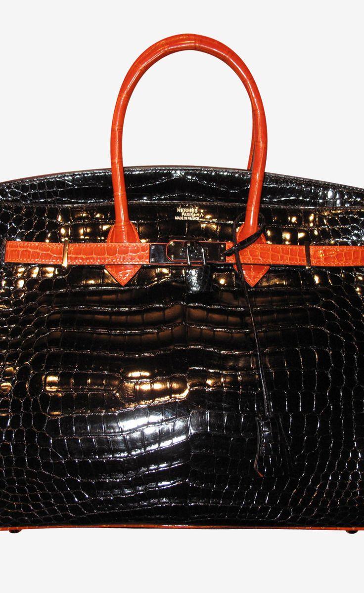 Hermès Black And Orange Handbag