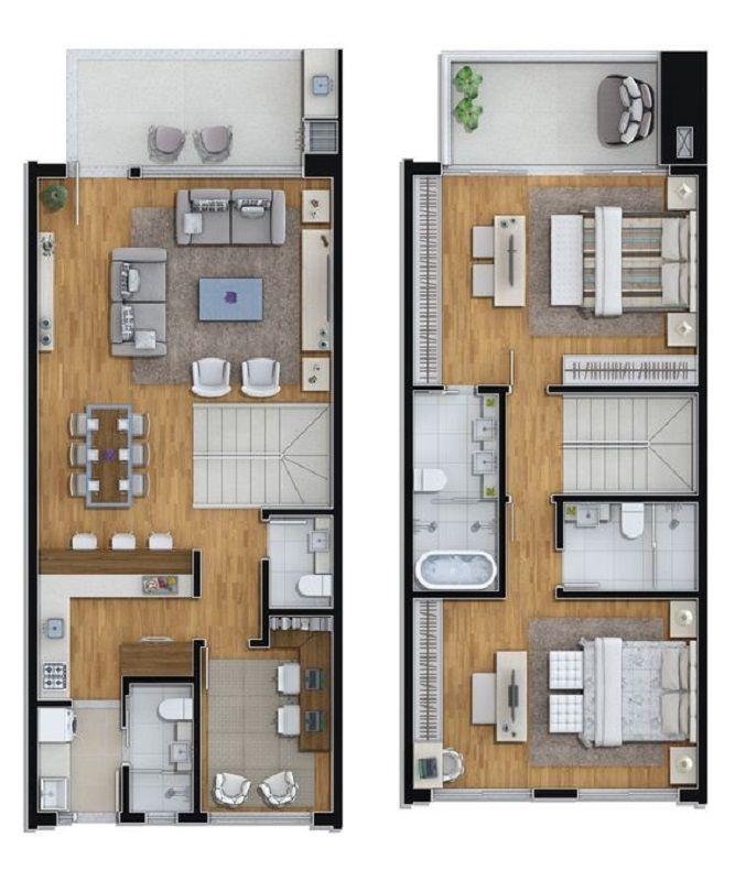 21 Desain Unik Rumah Mungil 2 Lantai Buat Keluarga Baru Denah Rumah Rumah Desain Rumah