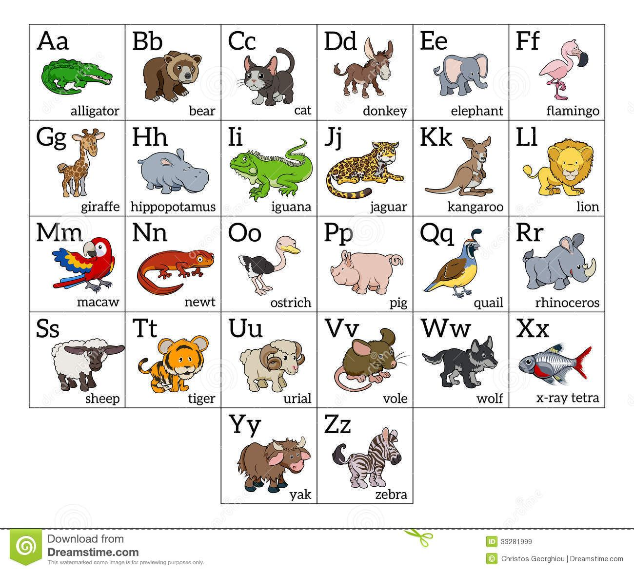 Cartoon Animal Alphabet Chart Animal Alphabet Alphabet Charts Lettering Alphabet