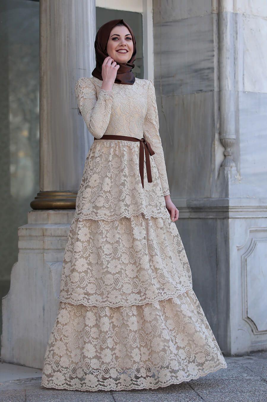 Zarif Tesettur Kat Kat Elbise Modelleri Dantel Elbise Elbise Elbise Modelleri