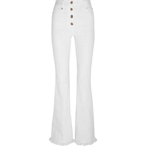 Sonia Rykiel High-rise flared jeans (2.837.075 IDR) ❤ liked on Polyvore featuring jeans, pants, bottoms, sonia rykiel, white high-waisted jeans, white high waisted jeans, high rise white jeans, cuff jeans and high waisted flare jeans