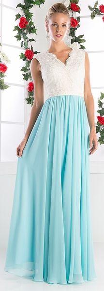 Mint V Neck Embroidered Bodice Formal Dress #discountdressshop #formaldress #mobdress #mob #vneck #gown