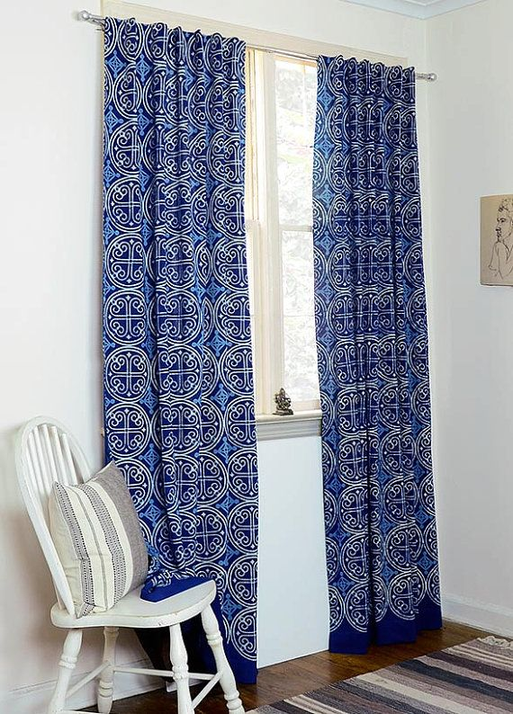 Indigo curtains Blue curtains window boho bedroom home decor housewares block print home living ichcha ONE panel  GREECE indigo 57 w x 84 L is part of bedroom Window Boho - www ichcha com