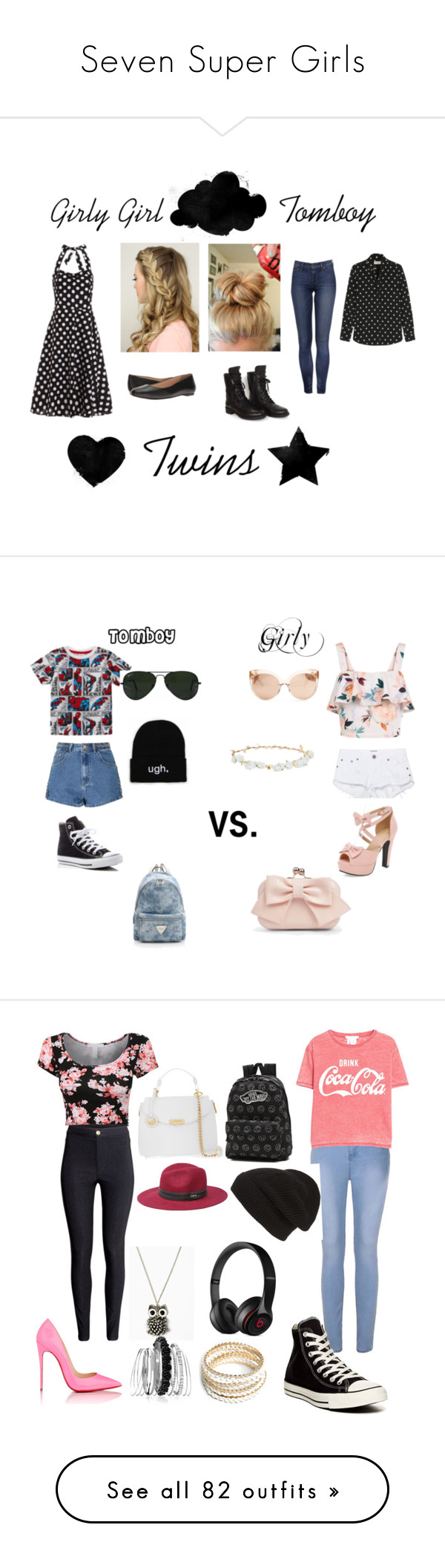 """""""Seven Super Girls"""" by sierra-ivy on Polyvore featuring Yves Saint Laurent, Chanel, Walking Cradles, Glamorous, Converse, Ray-Ban, New Look, OneTeaspoon, Boohoo and Design Lab"""