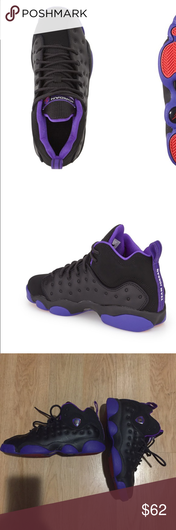 4485ae3e4a7254 Jordan Jumpman Team II GG 820276-017 Jordan Jumpman Team II GG 820276-017  Black Glow Purple Grade School US Size 5y beautiful Jordan . It run a half  small.