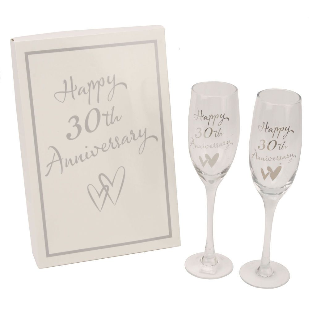 30TH PEARL WEDDING ANNIVERSARY CHAMPAGNE FLUTES/ GLASSES GIFT ...