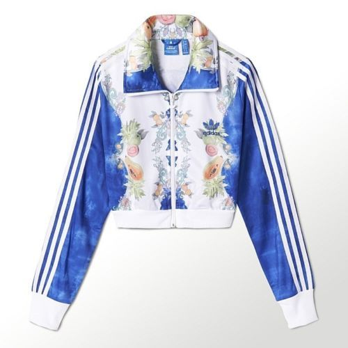 Adidas fattoria indigo ritagliata firebird traccia giacca sportiva vestiti