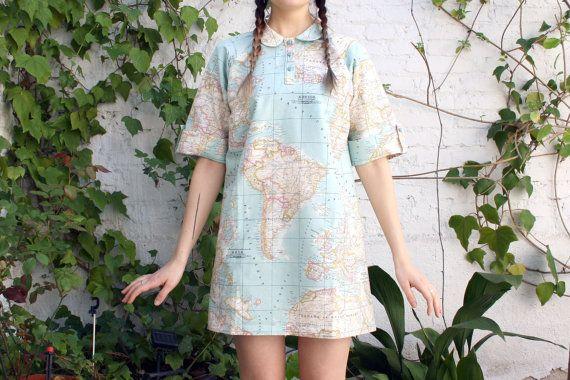 Outlet anual vestido de mapa peseta mapamundi azul - Outlet de telas en madrid ...