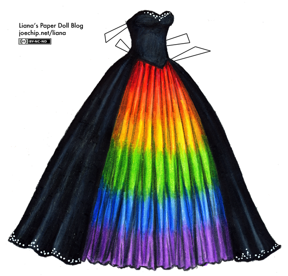 Liana\'s Paper Doll Blog » Black Masquerade Gown with Rainbow ...