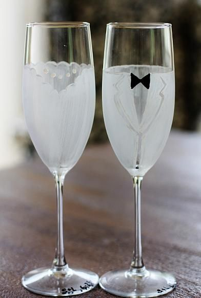 bride groom wine glasses painted with decoart s gloss enamels rh pinterest com