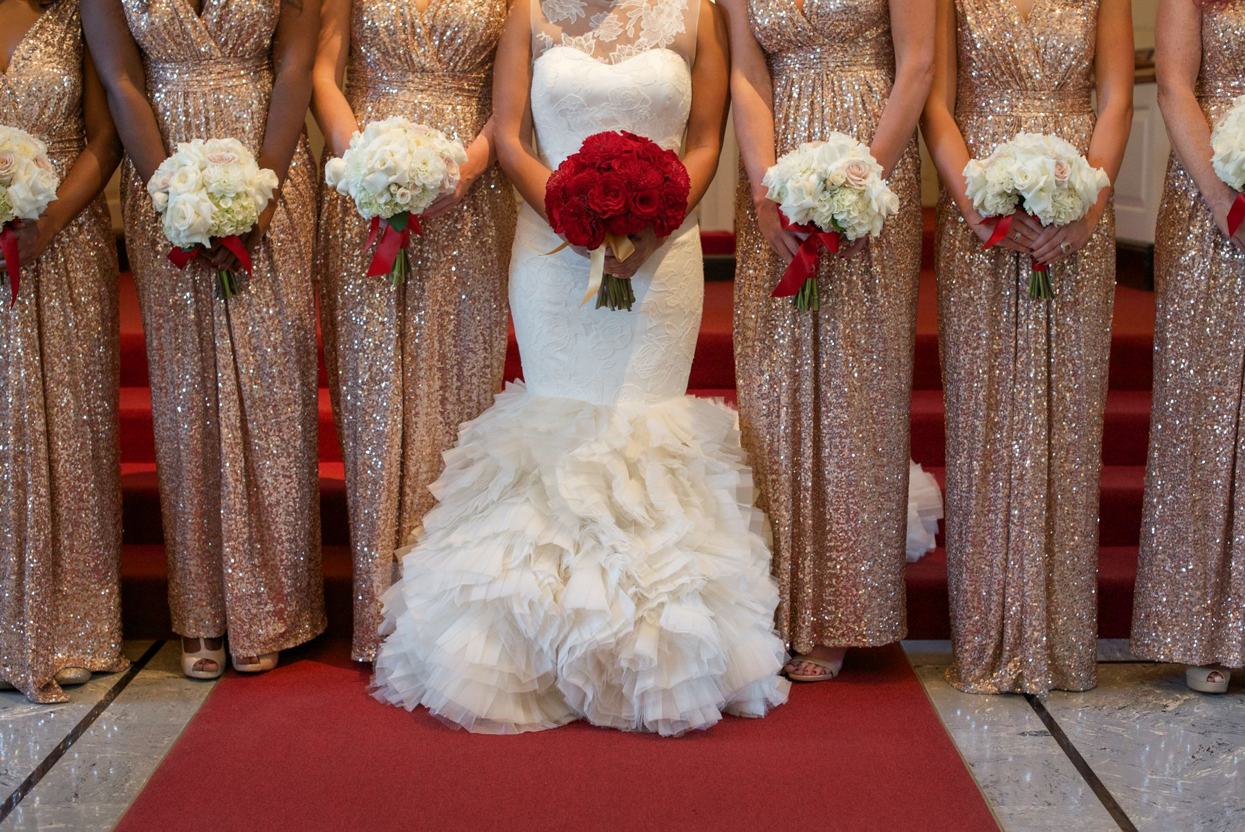 Lush Bride And Bridesmaids Bouquets In Red And White Red Gold Wedding Red Wedding Gold Bridesmaid Dresses [ 1203 x 1800 Pixel ]