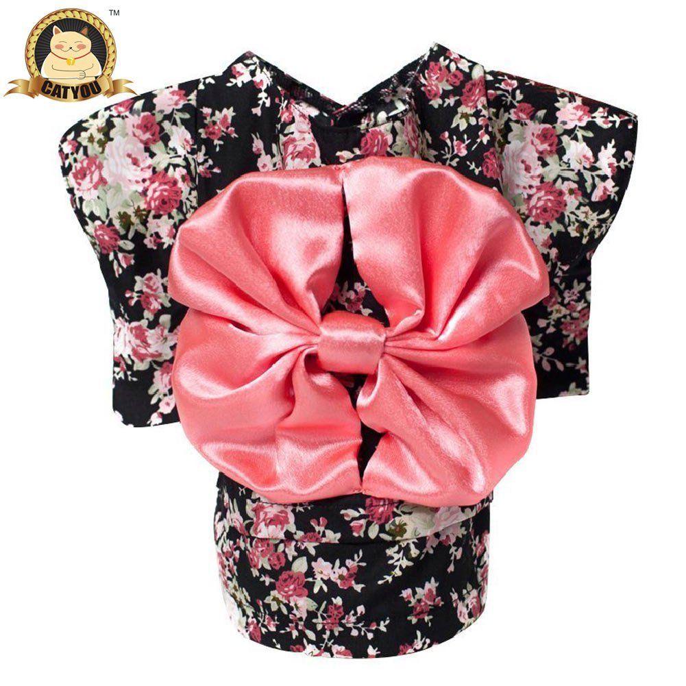 Catyou Pet Dress Up Costume Japanese Kimono With Bowknot Apparel