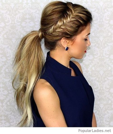 Amazing Navy Shirt Side Fish Braid And More Messy Ponytail Hairstyles Braided Ponytail Hairstyles Hair Styles