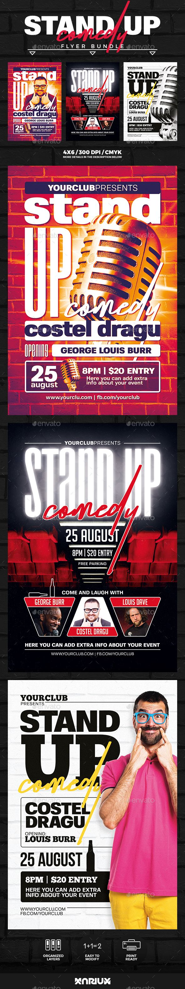Stand Up Comedy Flyer Bundle Events Flyers Comedy Posters