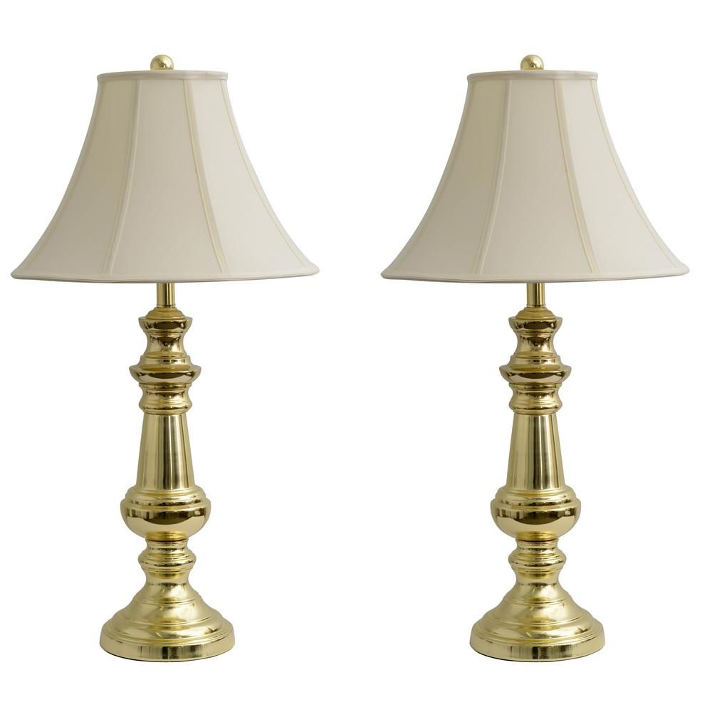 Decor Therapy Touch Control 32 In Polished Brass Table Lamp With Faux Silk Shade Table Lamp Shades Table Lamp Sets Decor Therapy