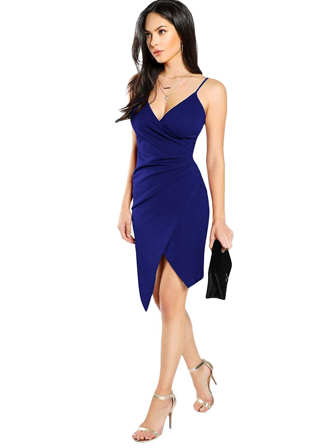 eeab51388890 SheIn Women's Sexy V Neck Spaghetti Strap Ruched Overlap Bodycon Dress at  Amazon Women's Clothing store: