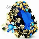 Michal Negrin Vintage Style Blue Stone Crystals Noa Ring - http://karat.designerjewelrygalleria.com/michal-negrin/michal-negrin-rings/michal-negrin-vintage-style-blue-stone-crystals-noa-ring/