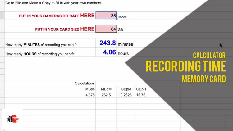 How much recording time you can get on a memory card