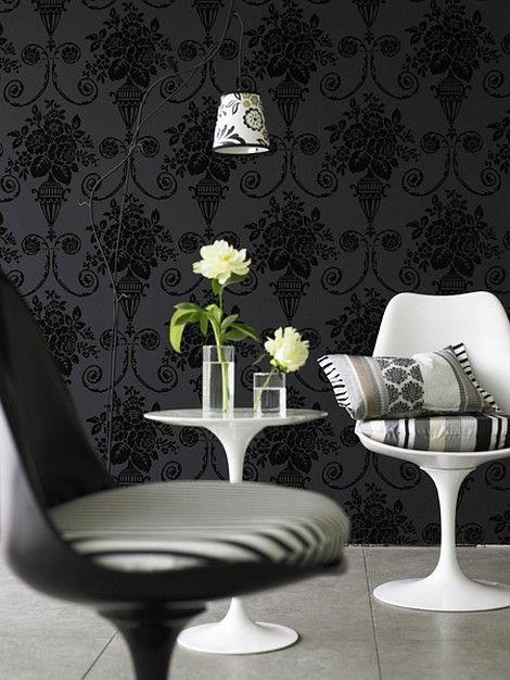 black wallpaper decor floral motifs luann lang black wallpaper http - Wallpaper Decor