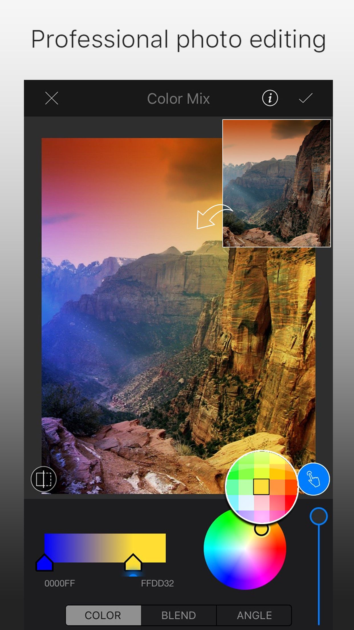 Apply color mix using lightx app photo editor color