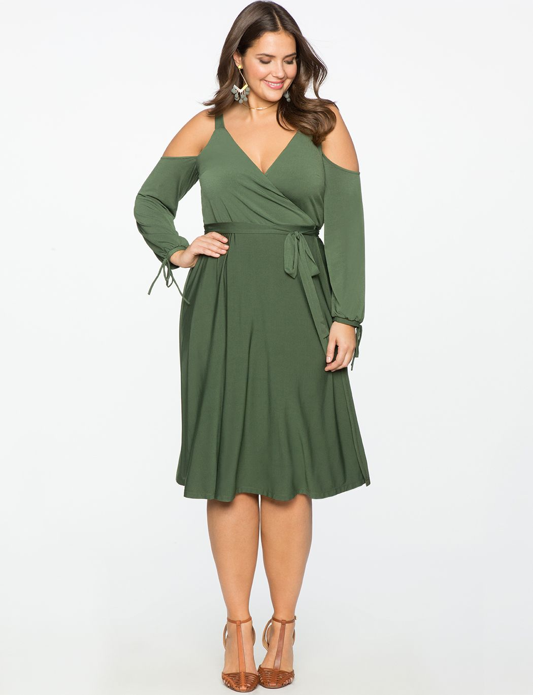 8045fa040e6 Cold Shoulder Wrap Dress